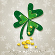 Card for St. Patrick's Day with clover and golden coins