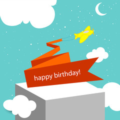 happy birthday card, plane