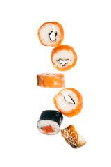 Falling sushi maki rolls