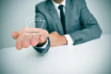 businessman with a folder icon