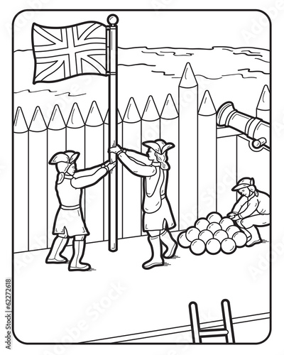 Vector Coloring Book Page Fort cannon balls British flag