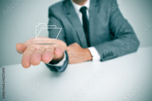 businessman with a folder icon