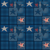 Seamless jeans denim patchwork stars pattern