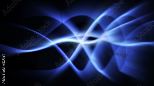 abstract light background of blue light waves in curved motion