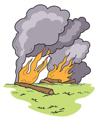 Vector Art Wild Fire with Dark Smoke Grass and Logs