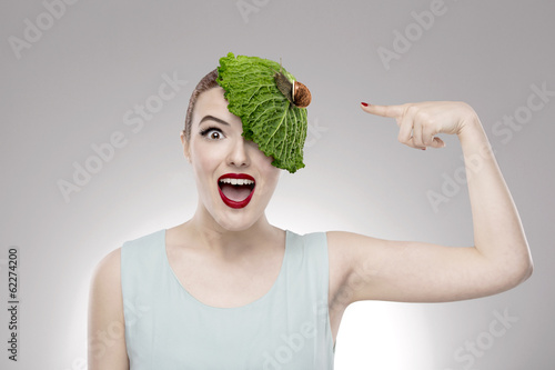 Portrait of a woman illustrating a vegan concept