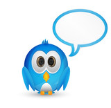 Blue twitter bird with speech bubble