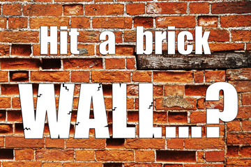 Brick wall business concept for mentoring: problem, challenge, s