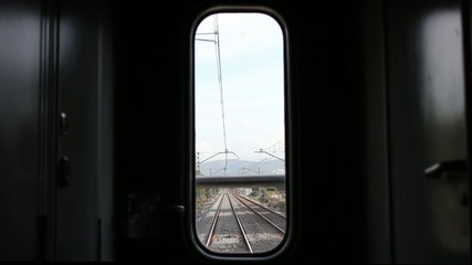 Railway through the window of the wagon