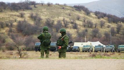 Russian soldiers in Perevalne, Ukraine