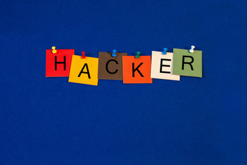 Hacker, sign series for computers, security, internet and techno