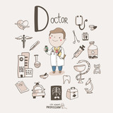 Fototapety Cute vector alphabet Profession. Letter D - Doctor