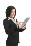 Happy business woman browsing a tablet reader