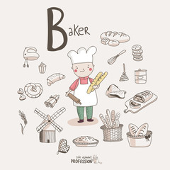 Cute vector alphabet Profession. Letter B - Baker