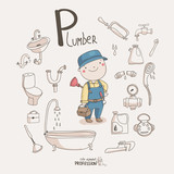 Cute vector alphabet Profession. Letter P - Plumber
