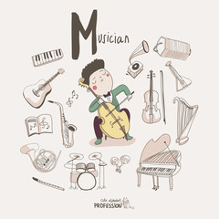 Cute vector alphabet Profession. Letter M - Musician