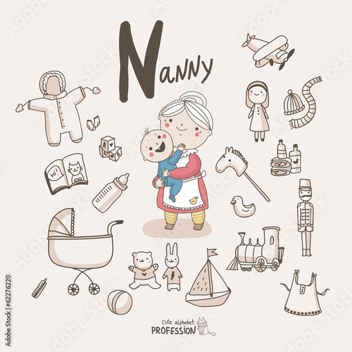 Cute vector alphabet Profession. Letter N - Nanny