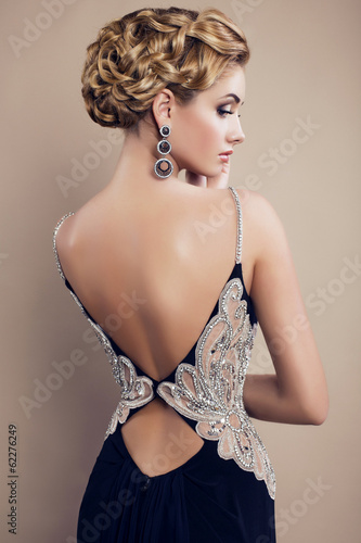 beautiful glamour woman in elegant dress