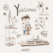 Cute vector alphabet Profession. Letter Y - Yachtsman
