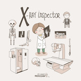 Cute vector alphabet Profession. Letter X - X-Ray Inspector