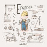 Cute vector alphabet Profession. Letter E - Engineer