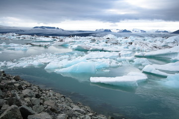 Icebergs floating in the jokulsarlon lagoon in Iceland