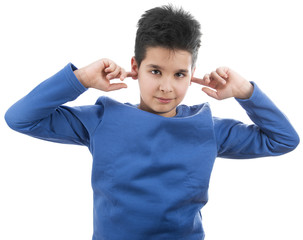 Cute boy closing his ears not hear isolated on white background