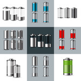 Set of  Metal and Glossy transparent battery icons