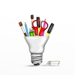 lampadina con matite e pennelli