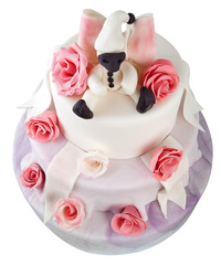Birthday cake with roses on white
