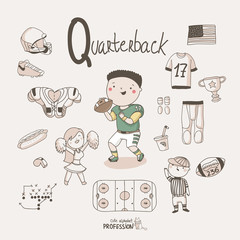 Cute vector alphabet Profession. Letter Q - Quarterback