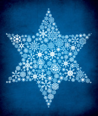 Blue ornate star illustration with textured background.