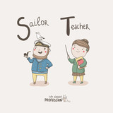Alphabet Profession. Sailor. Teacher