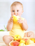 Cute baby with fruits