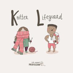Cute vector alphabet Profession. Knitter. Lifeguard