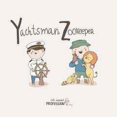 Cute vector alphabet Profession. Yachtsman. Zookeeper.