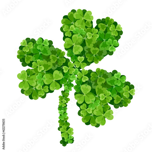 Shamrock made of green shamrocks. Vector illustration.