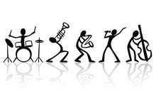 Grupo de músicos de la banda dibujado a mano vector de la camiseta del arte