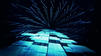 Dancing blue 3D squares inside tunnel of shifting rectangles