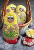 Edible homemade gingerbread as Russian nesting doll matreshka