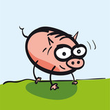 Pig funny cartoon