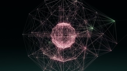 Spherical network of glowing lines and dancing points