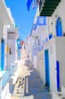 Narrow white lanes on the island of Mykonos, Greece