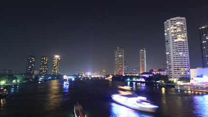 Bangkok cityscape skyscraper on the river, time lapse zoom out