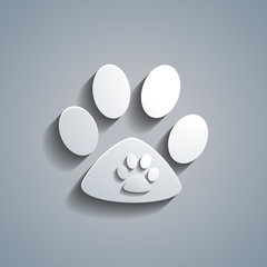 Simple white animal paw template