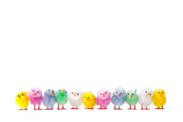 Row of artificial easter chicks