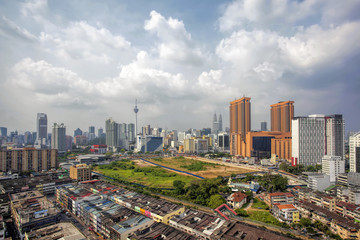 Kuala Lumpur Cityscape with Dramatic Clouds and Sky