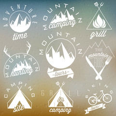 Retro vintage style symbols for Mountain Expedition