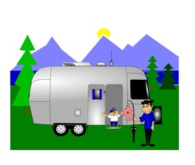 camping with retro rv and dad