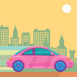 driving beetle with city background